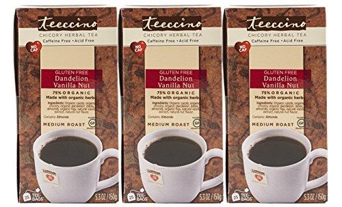 Decaffeinated Herbal Coffee (Teeccino Dandelion Vanilla Nut Chicory Herbal Tea Bags, Gluten Free,  Caffeine Free, Acid Free, 25 Count (Pack of 3))