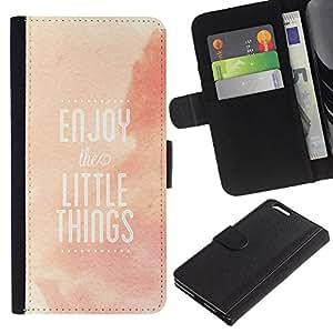 """Apple (5.5 inches!!!) iPhone 6+ Plus , la tarjeta de Crédito Slots PU Funda de cuero Monedero caso cubierta de piel ("""" Enjoy Little Things Quote Positivity Life"""")"""