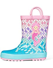 K KomForme Kids Rain Boots, Girl Animal Printed Rubber Boots with Easy on Handles…