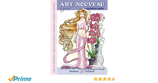 Art Nouveau Inspired Coloring Book: Libro da colorare - Livre de ...