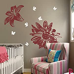 Flowers Wall Decal with Flying Butterflies Vinyl Art Sticker Lily and Chrysanthemum