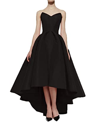 Xoemir Ladies Asymmetrical Dresses Wedding Dresses for Bride 2018 Black Gowns, 2
