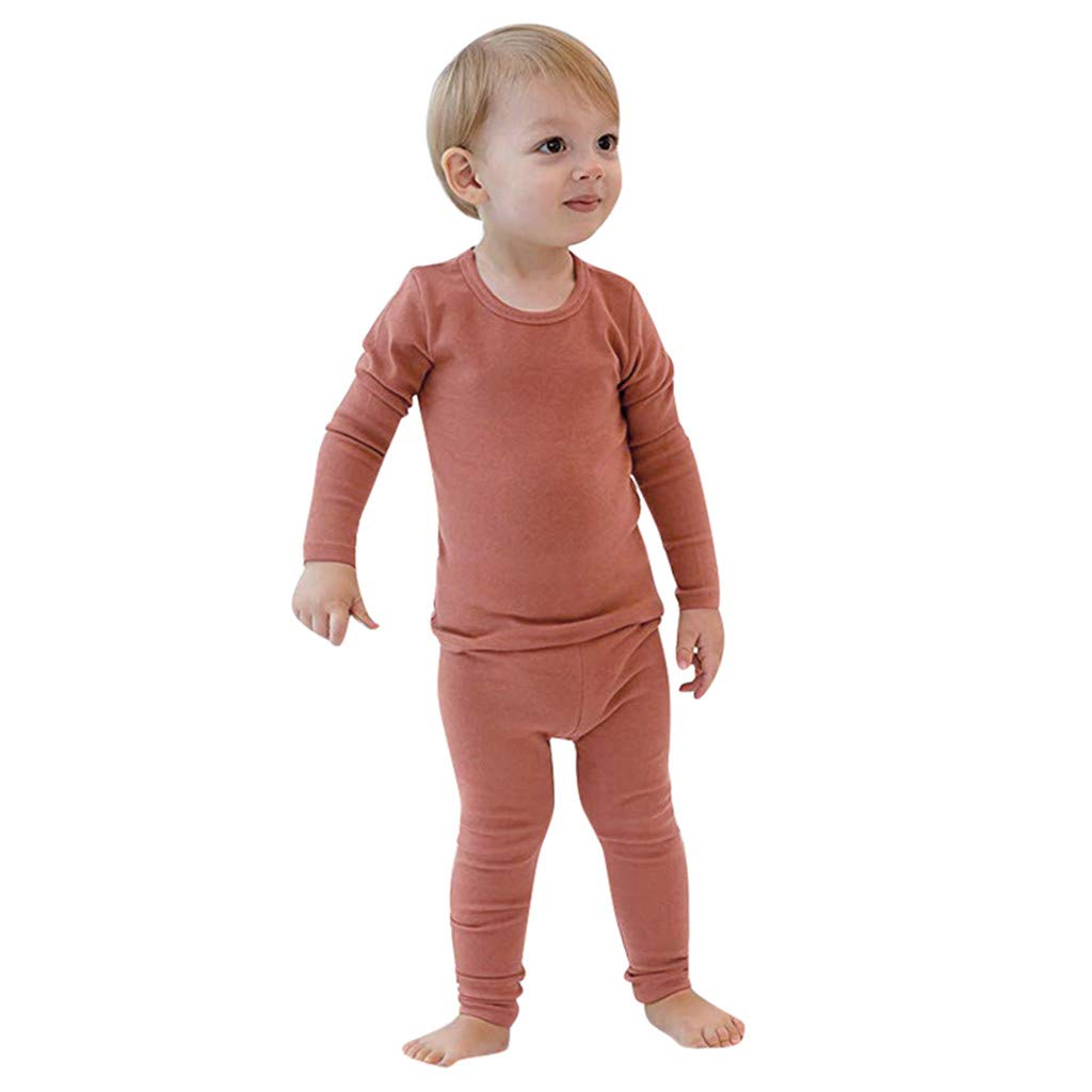Toddler Baby Boys Girls Long Sleeve Solid Tops+Pants Pajamas Sleepwear Outfit