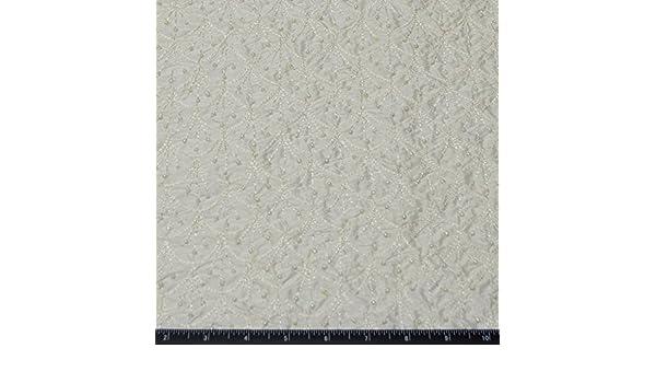 """By Yard EB-909B 44/"""" W Ivory Shantung Dupioni Bridal w// Beads 100/% Silk Fabric"""