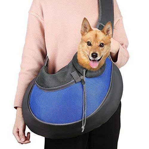 TTWO Pet Sling Carrier Bag, Hand-free Dog Cat Outdoor Travel Shoulder Bag with Adjustable Strap& Zipper (L, Blue) by TTWO