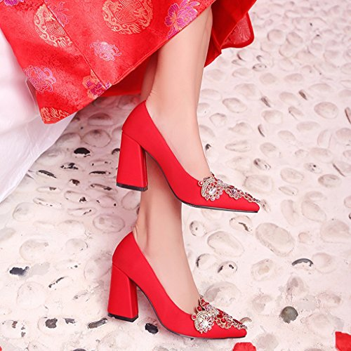 Pour Femmes Satin Rouge Talons Hauts À Profonde Tige Escarpins Bouche Pointue Peu Tête En Chaussures Épais BOZZwaq6p