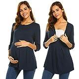 Ekouaer Women's Maternity Shirt Nursing Top for Breastfeeding Nightshirt Sleepwear (Navy Blue S)
