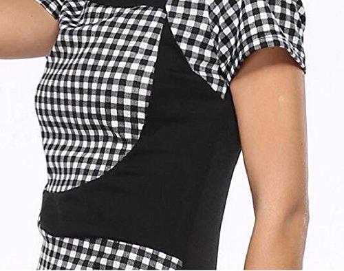 Stampa Bodycon Plaid Lavoro 1 Donna Matita Corte Fodero Jaycargogo Maniche Vestito Dall'annata aq0wWTd