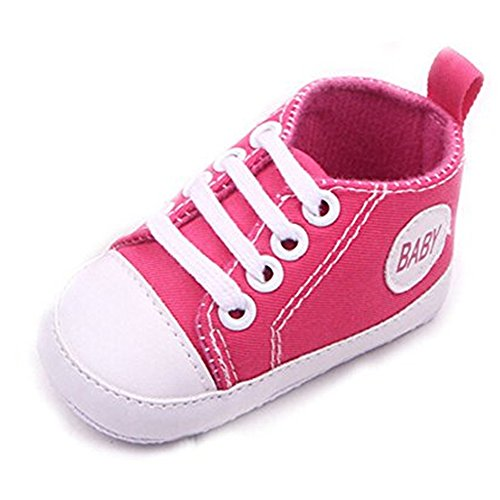 Cute Baby Sneakers,Dealzip Inc Hot Pink Newborn Baby Boy Girl Soft Crib Lace Up Canvas Sneaker Shoes 9-12 ()