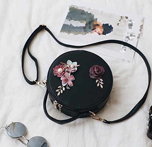 Handbag Fashion Messenger Bag Woman Mini Shoulder Round Bag Black Handbag Small Clutch 2018 Flower Girl qwBRgfnT
