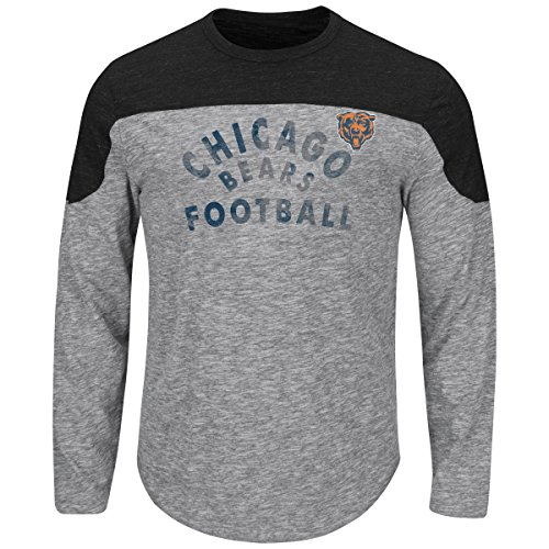 "Free Chicago Bears Majestic NFL ""Corner Blitzer"" Men's Long Sleeve Gray Slub Shirt"
