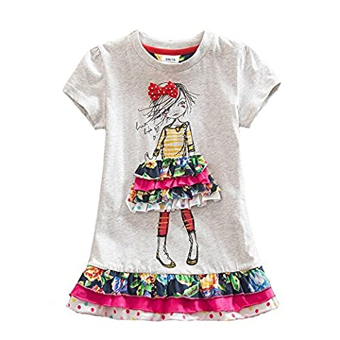 VIKITA 2016 NEW Kids Girls Cotton Flower Dress Short Sleeve Gray SH3660 5T - Together Short Sleeve Dress