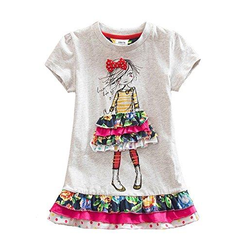 VIKITA 2017 New Kids Girls Cotton Flower Dress Long Sleeve Gray LH3660 3-8 Years SH3660, -