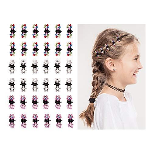 (Cubaco 36pcs Baby Girls Mini Hair Claw Clips Crystal Rhinestone Mini Hair Clips Flower Barrettes Hair Bangs Hair Jaw Clips Pin Hair Accessories for Kid Girls Women)