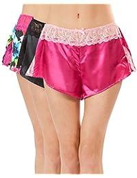 Ashford & Brooks Women's Satin Lace Trim Knicker Shorts 3 Pack