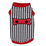 smalllee_lucky_store Houndstooth Shirt for Small Dogs, X-Small, Black