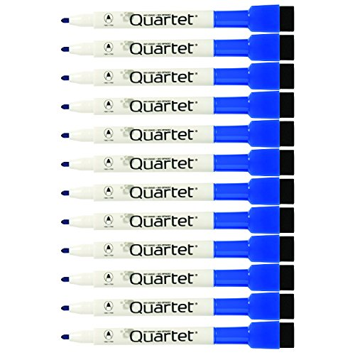 Quartet Magnetic Dry Erase Markers, Fine Point, Rewritables, Blue, 12-Pack (48171)