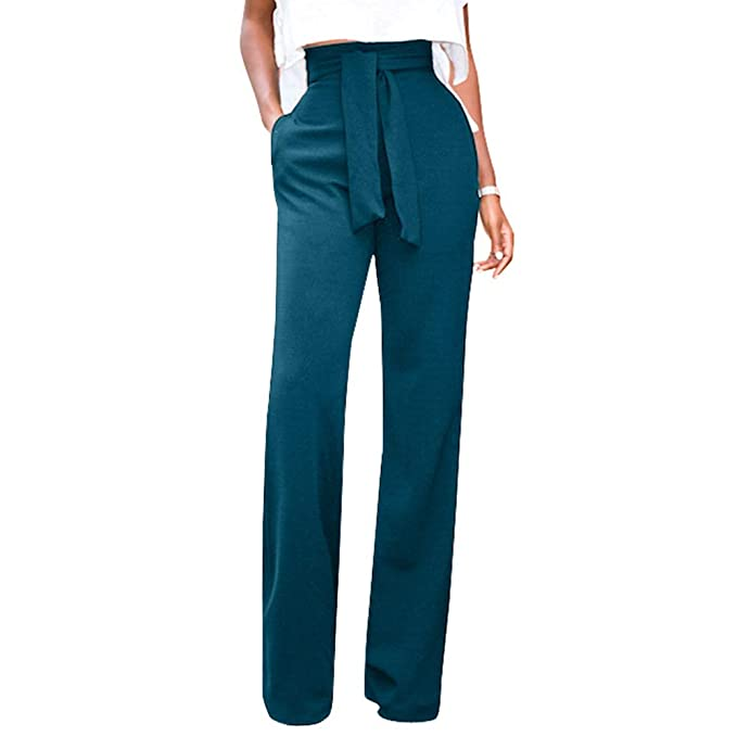 5034e0ad39965e GUOLEZEEV Women High Waisted Long Pants Solid Color Straight Leg Belted Pant  S