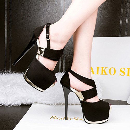 Peep Platform Ankle Black toe Comfort Stiletto Heel Pump Party High Dress Sexy Strap Velvet Women's TX0tBFq