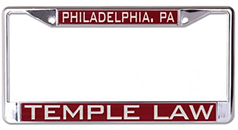 WinCraft Temple University Beasley School of Law License Plate Frame, metal  with inlaid acrylic, 2 mount holes
