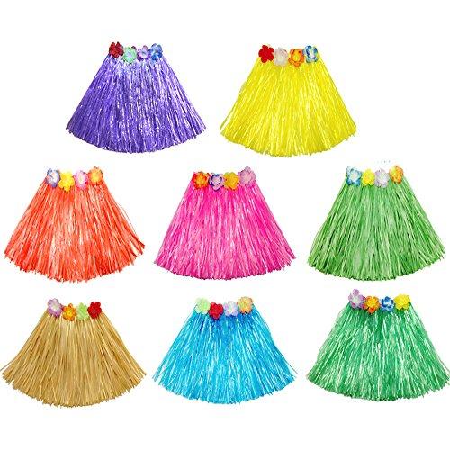 Best Price Neworkg 8 Pack Elastic Hawaiian Grass Hula Skirt?Dance Dresses luau Party Favors