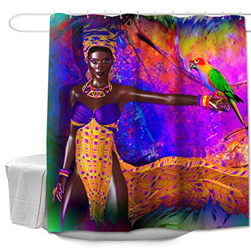 """Colorful Star Parrots and Afro African Women American Design Shower Curtain Made of 100% Polyester Fabric Machine Washable Waterproof Durable with Hooks 72""""x72"""""""