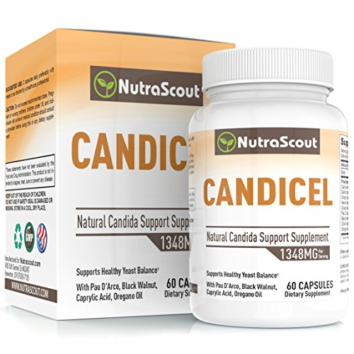 Candicel Candida Cleanse Supplement With Caprylic Acid, Neem, Pau D'Arco, Oregano, Grapeseed, Black Walnut & Clove To Combat