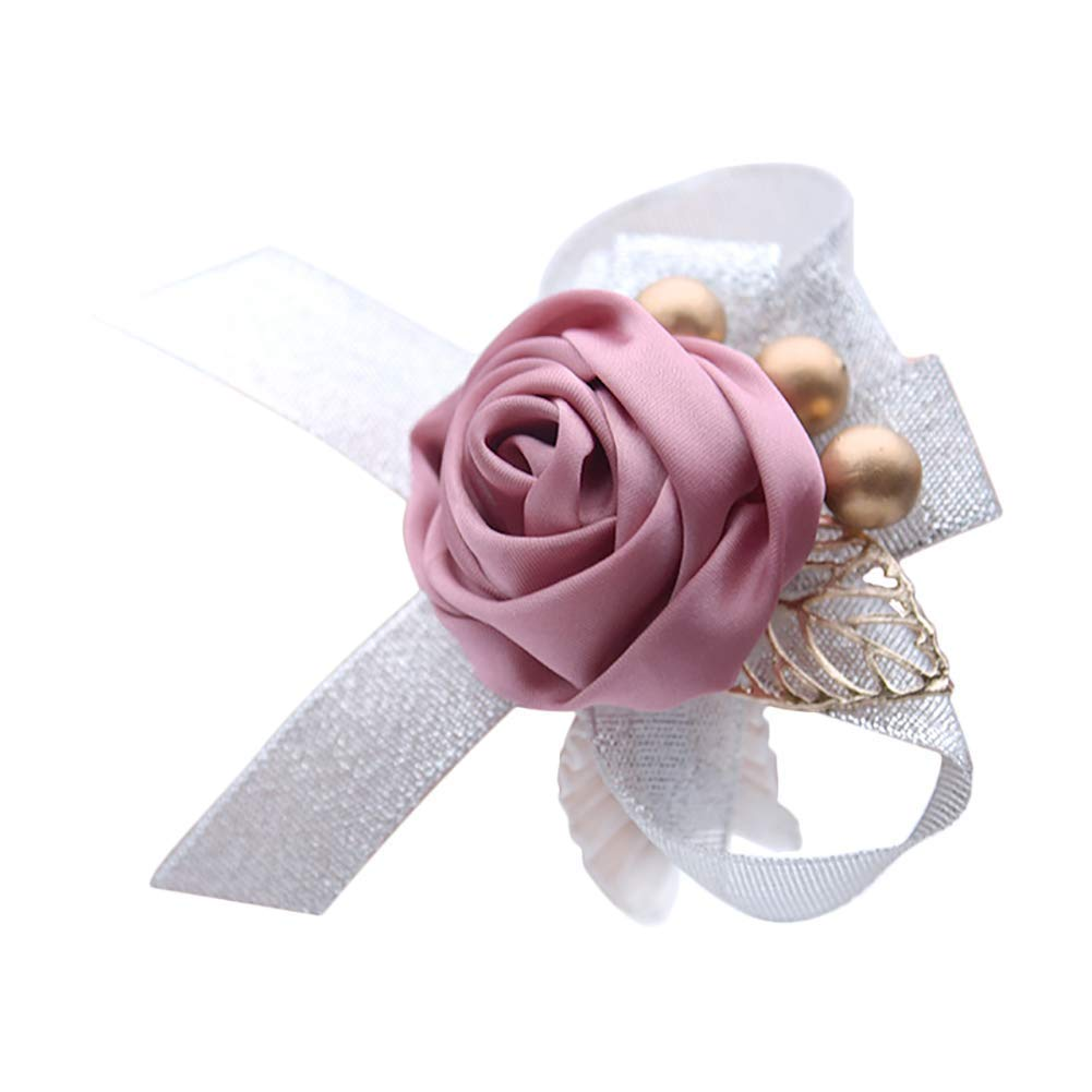 Yevison 1X Leaf Bead Flower Wrist Corsage Wedding Bridesmaid Wrist Corsage Flower Stretch Bracelet Hand Flower Wedding Prom Party Decor Rose Practical