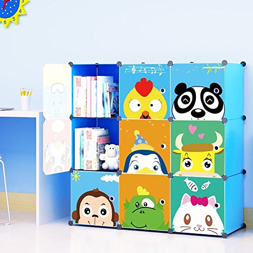 MAGINELS Kids' Toy Storage Cube Organizer for Children Bookcase Cabinet Blue Cartoon 9 (Mission Single Dresser)
