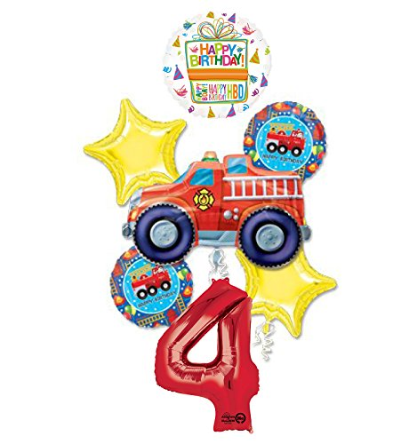 (Fire Truck Fire Engine 4th Birthday Party Supplies and Balloon)