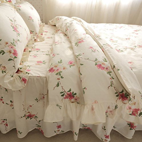 FADFAY Elegant And Shabby Floral Bedding Set Twin Full Queen King 4 Pieces Duvet Cover Sets (Twin, 14) Shabby Chic Vintage Blanket