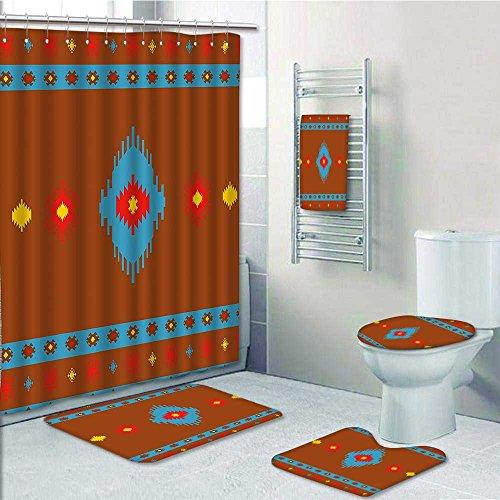 5-piece Bathroom Set-Includes Shower Curtain Liner,Native Design Aztec Inca Navajo Tribal Cultural Dark Orange Aqua RedPrint Bathroom Rugs Shower Curtain/Bath Towls Sets(Large size)