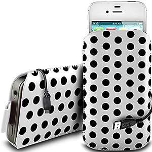 Direct-2-Your-Door - Blanco - Nokia Asha 201 PU protector Polka de cuero con cremallera diseño antideslizante de cordón en la bolsa del caso con el lanzamiento rápido y de datos USB cable de carga
