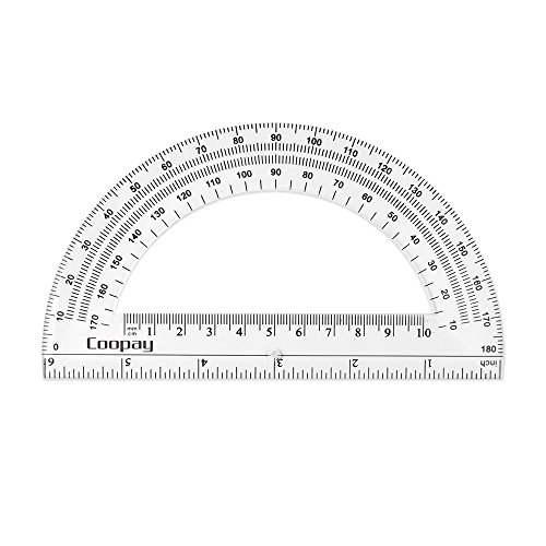Coopay 24 Pack Plastic Protractors Clear Protractor Student Math Protractor Set 180 Degrees for Angle Measurement, 6 Inches by Coopay (Image #6)