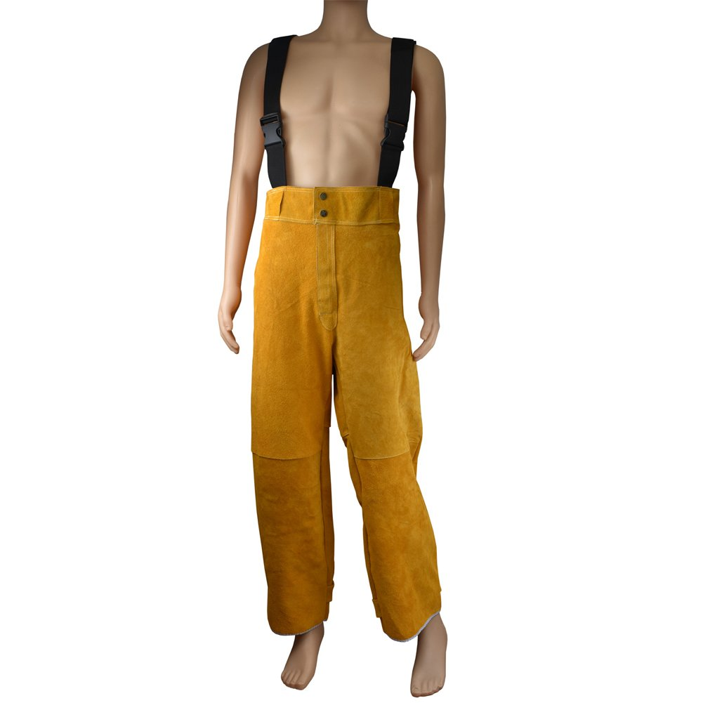 Welding Jacket and Trousers Heavy Duty Genuine Cowhide L Size Heat Flame-Resistant Welding Bib Apron Safety Apparel Long Coat Welding Suit HJ0002 by TUYU (Image #5)