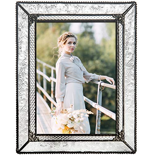 J Devlin Glass Art Clear Vintage Stained Glass Picture Frame Tabletop 5 x 7 Photo Wedding Pic - Wedding Frame Picture Glass
