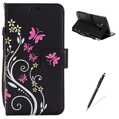 LG G4 Case,MAGQI Premium Slim Fit Flip PU Leather Stand Wallet Book Style Case with Card Slots Magnetic Closure Embossed Rose Flower Butterfly Pattern Cover - Black
