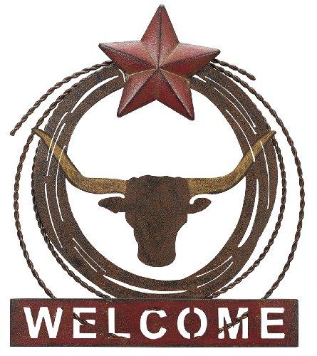 Sunset Vista Design Studios Metal Longhorn Welcome Sign