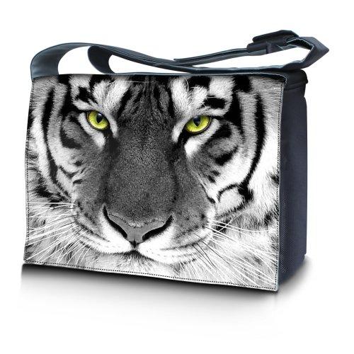 Luxburg® Design bolso bandolera de mensajero, de escuela bolso para portátil ordenadores Laptop Notebook 17,3 pulgadas, motivo: Erizo multicolor Tigre