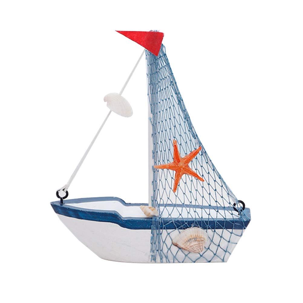 MediterranenStil Maritime Segelboot Boot Modell für Haus oder Büro Decor rot