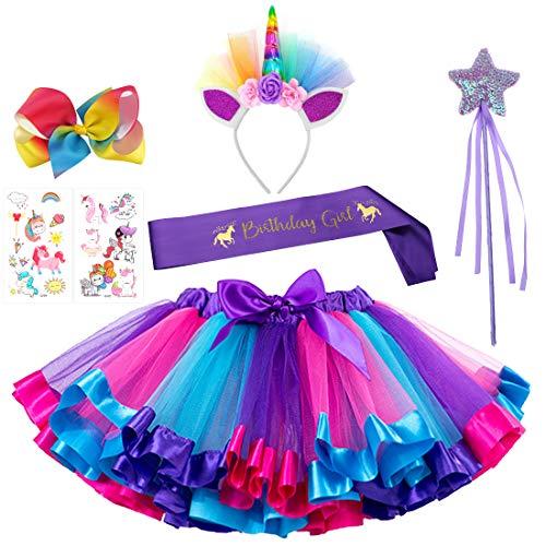 Unicorn Rainbow Tutu Skirt Headband Fairy Wand Birthday Satin Sash Rainbow Hairbow Tattoo Stickers 7 PCs Party Favors for Girls Birthday Costume