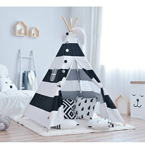 Little Dove Kid's Foldable Teepee Play Tent, One Four Ploes Style Strip Style Black/White (Mat Not Included)