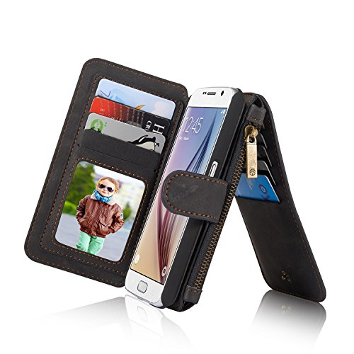 RAYTOP 15-Slot Card Holders, Samsung Galaxy S6 Case Wallet, Inside Cover Removable from Wallet, Button + Zip + Magnet Closure, Multiple Pockets for Money / ID Cards / Driving License, Black Color