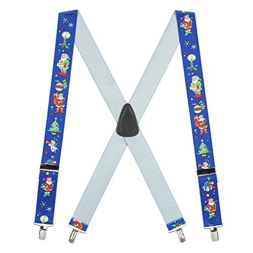 SuspenderStore Men's Santa on Blue Suspenders - 1.5 Inch Wide Clip ()