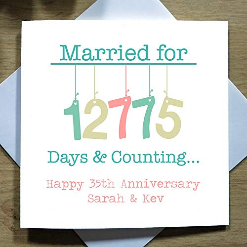 35th Wedding Anniversary Card Handmade Personalised Coral