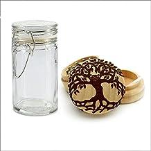 Herb Grinder, Tree of Life Owl Wood Laser Engraved Grinder, Custom Grinder with a FREE Wood Glass Jar, Smoking accessories