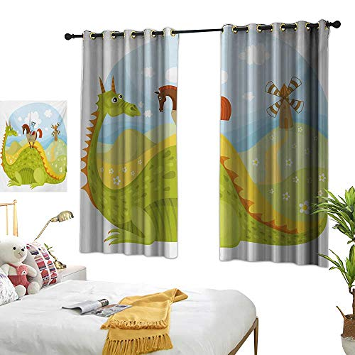 Bedroom Curtain W55 x L63 Fantasy,Knight Don Quixote with Horse on Dragon Valley Medieval Fairytale Image,Apple Green Sky Blue Living Room Dining Room Kids Youth Room Window Drapes
