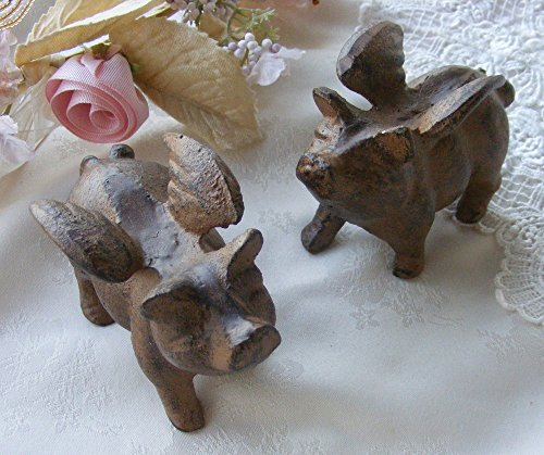 Set/2 Cast Iron Little Pigs Paperweight Statue ~ Pigs W/wings ~ Flying Pig