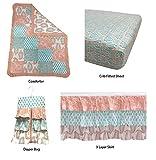 Bacati Sophia Paisley Girls 4 Piece Crib Set with Diaper Stacker, Coral/Aqua