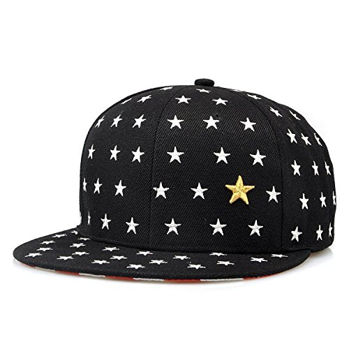 KAFEIMALI Child Summer Hat Star Flat Brimmed Embroidered Baseball caps (Black)
